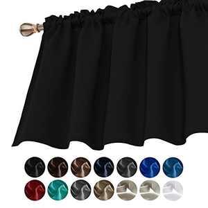 Deconovo Window Curtain Valances Blackout Rod Pocket Textured Embossed Curtain Valance for Bathroom Windows 42x36 Inch Black 1 Panel