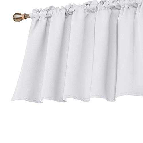 Deconovo Solid Blackout Curtains Valances Textured Embossed Rod Pocket Window Valances Kitchen Tier Curtains for Small Windows 52x36 Inch Light Greyish White 1 Panel