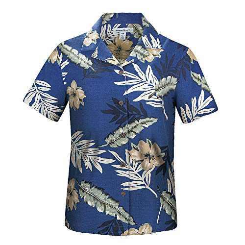 Havana Breeze Women's 100% Silk Regular-Fit Hawaiian Shirt, Navy Underpainting Sunflower Leaf M