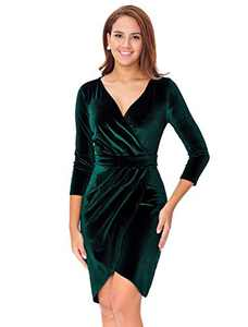 InsNova Winter Long Sleeve Velvet Cocktail Dresses for Women Wedding Guest Christmas Party Plus Size Wrap Holiday Dress, Emerald Green