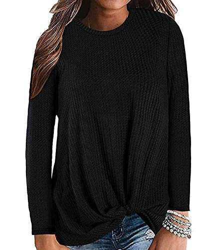 Gognia Women's Casual Tunic Top Long Sleeve Knot Waffle Knit T-Shirt Twist Blouse Black S