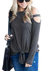 Women's Long Sleeve Cutout Shoulder Tops Tie Front Knot Casual Loose Tunic Blouses Shirts Dark Gray