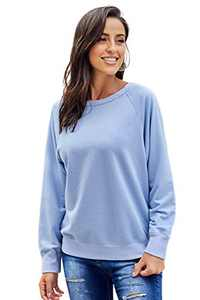 XAKALAKA Women's Round Neck Cotton Long Sleeve Loose Solid Pullover Sweatshirt Tops SkyBlue L