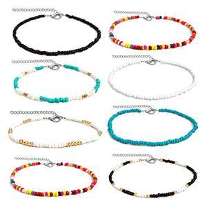 Seed Bead Necklaces for Women Choker Necklace Colorful Bead Chain Necklace Boho Jewelry Gifts 8 Pieces