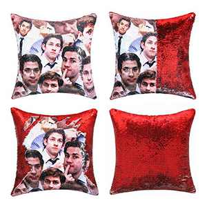cygnus The Office Gifts Jim Halpert Sequin Pillow Cover Reversible Magic Mermaid Throw Pillow Case That Color Changes 16x16 inch,red