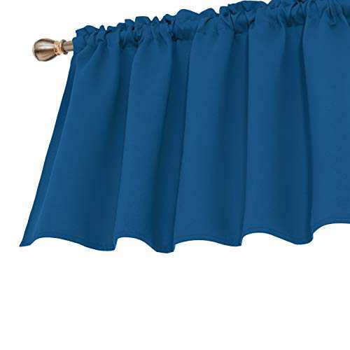 Deconovo Valances for Windows Rod Pocket Textured Embossed Blackout Cafe Valance Curtain 42x36 Inch Dark Blue 1 Panel