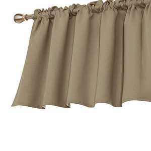 Deconovo Decorative Rod Pocket Curtain Valance Light Blocking Blackout Valances for Bedroom Window 52x24 Inch Khaki 1 Panel
