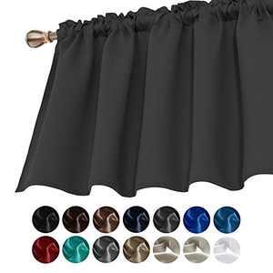 Deconovo Window Curtain Valances for Kitchen Valance Light Blocking Blackout Curtain Valances 42x36 Inch Dark Grey 1 Panel