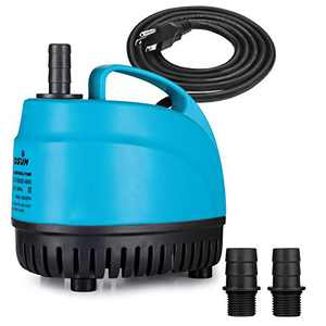 KEDSUM 800GPH Submersible Water Pump(3000L/H, 48W), Ultra Quiet Submersible Pump with 9.8ft High Lift, Pond Pump with 5.9ft Power Cord, 3 Nozzles for Fountain, Pond, Fish Tank, Hydroponics