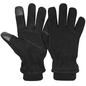 AULTRON Mikor-Milar Winter Gloves for Men & Women, Warm Thermal Gloves with Touch Screen Fingers- Full Deerskin Suede Leather Palm & Polar Fleece Back for Driving Motorcycle Cycling