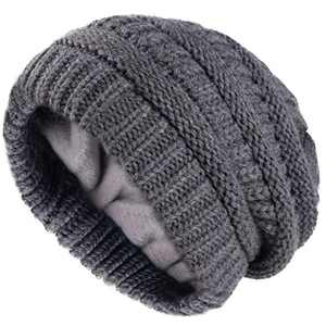 Camptrace Winter Hats for Women Knit Slouchy Hat Warm Soft Fleece Lined Chunky Thick Skull Ski Cap Beanie for Women Dark Grey