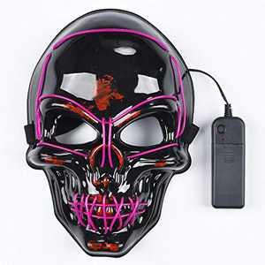 lychee Halloween Cosplay Led Mask Skull Skeleton Light Up Full Face Mask for Festival Cosplay Halloween Costume (Purple)