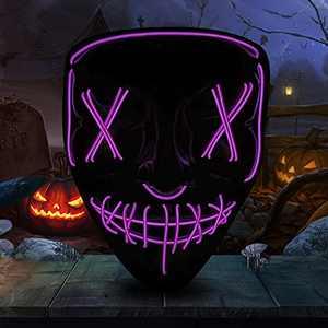 Pekirun LED Light up Mask,Cosplay Scary Mask For Halloween Festival Party (Purple)