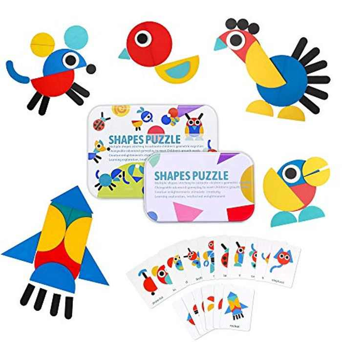 PUZ Toy Jigsaw Puzzles Pattern Blocks set 36+ pcs Wooden Shapes Puzzles for Children Best Christmas Birthday Gifts