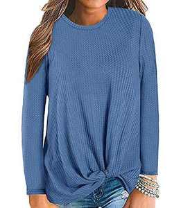 Gognia Women's Casual Tunic Top Long Sleeve Knot Waffle Knit T-Shirt Twist Blouse Blue S