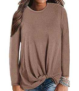 Gognia Women's Casual Tunic Top Long Sleeve Knot Waffle Knit T-Shirt Twist Blouse Coffee XXL