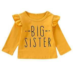Aslaylme Big Sister Butterfly Long Sleeve Shirt Cute Tops (Z-Yellow-Big Sister,12-18 Months)