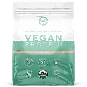 Organic Vegan Protein Powder - Plant Based Protein Powder Blend with Pea Protein and Added Organic Omega's - Raw, Non Dairy, Gluten & Soy Free, Non GMO (Vanilla, 30 Serving)