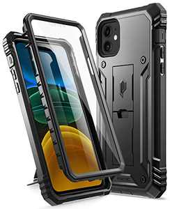 "Poetic Compatible with iPhone 11 Case: [6FT Military Grade Drop Protection] iPhone 11 Case with Screen Protector, Heavy Duty Protection, Kickstand, Shockproof Phone Case for iPhone 11 (6.1""), Black"