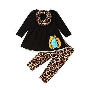 Toddler Little Girls Ruffle Flare Tunic Dress Top Striped Leggings Pants 2PC Fall Winter Outfit Set Clothes (1-2T, Black+Leopard)