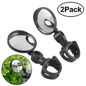 FICBOX 2 Pack Bike Mirrors Bicycle Wide Angle Rear View Mirrors Rotatable Adjustable Handlebar Convex Mirror Universal