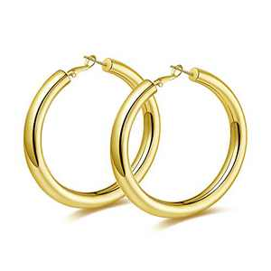 wowshow Large Chunky Thick Gold Hoop Earrings for Women