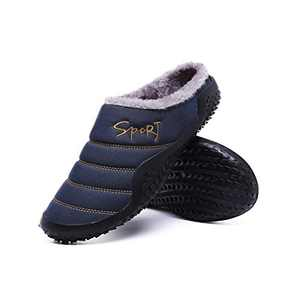 Mens Fleece Slippers Indoor Ourdoor Cozy Plush House Slippers Slip On Winter Warm Fully Fur Lined Slippers Anti-Slip Rubber Sole Navy Blue