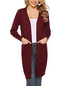 Abollria Women's Fall Long Sleeve Kimono Knit Cardigan Open Front Lightweight Sweater Coat with Pockets Wine Red