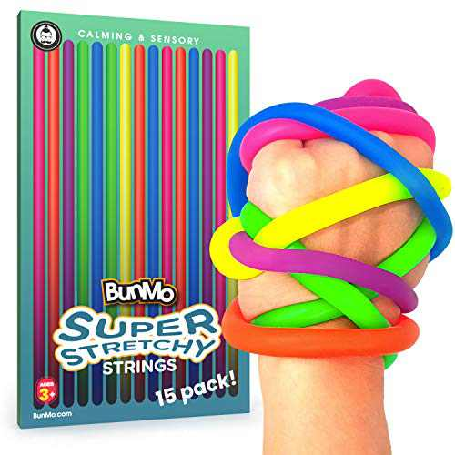 BunMo Stretchy Strings Toys - Fidget Toys for Kids and Adults Alike - Durable Stretchy Toys Increases Focus and Reduces Anxiety - 15pk