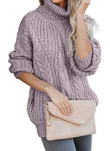 Chase Secret Womens Casual Turtleneck Long Sleeve Loose Chunky Knit Pullover Sweater S Purple