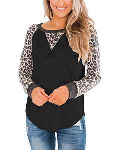 Bingerlily Women's Long Sleeve Tunic Tops Casual Leopard Shirts Crew Neck Blouses Black