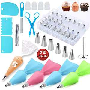 Lychee Cake Decorating Kits Supplies 72-in-1 Baking Accessories with 48 pcs Cake Icing Tips 2pcs flower decoration, Piping Pastry Bags and Decorating Pen Frosting Tools Set