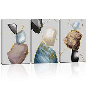 Wall Art for Bedroom Abstract Canvas Print Painting for Living Room Decor Stretched Picture Artwork Ready to Hang 12x16 Inch 3 Pieces