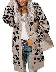 BTFBM Women Chic Leopard Print Cozy Sweater Pockets Button Down Open Front Loose Knitted Long Cardigan with Sleeves (Khaki, Medium)