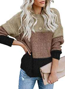 LOSRLY Womens Loose Casual Pullover Sweater Color Block Round Neck Knit Tops and Blouses S Khaki