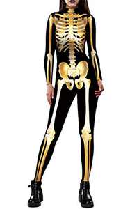 Auremore Halloween Skeleton Womans Costume 3D Print Cosplay Costumes Bodysuit Zipper Jumpsuit Rompers Petite Gold XL