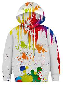 Asylvain Teen Girls White Paint Colorful Hoodies 3D Print Novelty Graphic Sweatshirts with Pocket for Boys and Girls, 3-4 Years
