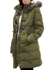 LookbookStore Women Winter Clothes Faux Fur Quilted Warm Long Puffer Hooded Jacket Coat Army Green Size Large (Fits US 12-14)