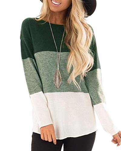 Hiistandd Women's Long Sleeve T Shirts Casual Round Neck Color Block Tunic Tops(Green,XL)