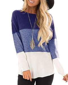 Hiistandd Women's Long Sleeve T Shirts Casual Round Neck Color Block Tunic Tops(Blue,L)