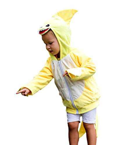 ComfyCamper Yellow Shark Costume Hoodie with Pants, 1-2 Years