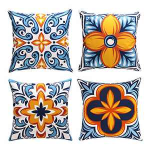 cygnus Farmhouse Throw Pillow Covers 18x18 inch Floral and Boho Retro Pattern Pillowcase Outdoor Decor Cushion Cover Pillow Case Decorative Set of 4,Blue and Orange