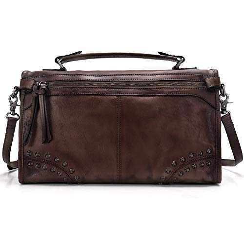 Fei Studio Womens Genuine Leather Shoulder Bags Ladies Handmade Colored Crossbody Bag Tote Handbag (Coffee)