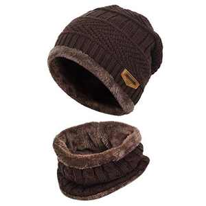 MUCO Mens Womens Winter Beanie Hats & Scarf Set Warm Slouchy Skully Knit Hat Thick Fleece Lined Winter Cap Neck Warmer for Men Women