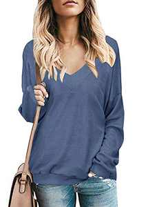 Womens Sweatershirts V Neck Long Sleeve T Shirts Casual Solid Pullover Sweater Tops Navy M