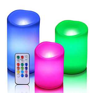 """Enido Flameless Candles Color Changing Candles Led Pillar Candles Waterproof Outdoor Indoor Candles with Remote Control and Timer Pack of 3 Plastic (D3"""" x H4""""5""""6"""")(Battery not Included)"""