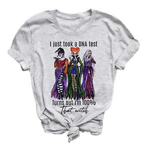 GEMLON Halloween T Shirts for Women, Halloween Graphic Tees Witch Hocus Pocus Sanderson Sisters Shirts Retro Vintage O Neck Short Sleeve Tops (01-Grey-1, S)