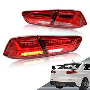 VLAND LED Tail lights Compatible with Mitsubishi Lancer EVO X 2008-2018( Not Fit Sportbacks ) with Amber Sequential Turn Signal, Red ClearYAB-YS-0155BHRC