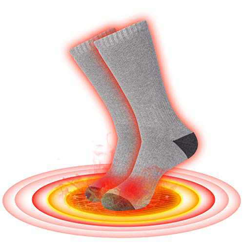 ZLTFashion Electric Heated Socks, Cordless Portable Rechargeable Battery Infrared Heating Cold Weather Thermal Socks Sport Outdoor Camping Hiking Foot Warmer Winter Socks Heated Slippers(Gray)