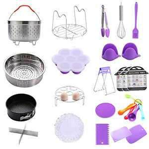 Geezo Pressure Cooker Pot Accessories 121 Pieces Pressure Cooker Accessories Kit for 5/6/8qt Electric Pot Air Fryer,Non-stick Springform Pan,Egg Rack,Egg Bites Mold,Kitchen Tong,Dish Plate Clip